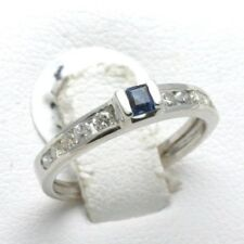 NEW 14k white gold blue Sapphire & Diamond Ring 2/3 carat channel set dainty