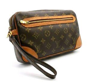 【Rank AB】 Authentic Louis Vuitton Marly Dragonne Clutch Hand Bag Monogram M51825