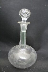 Vintage Etched Glass Small Size Ships Style Decanter