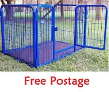 NEW EXTRA LARGE DOG CAGE PUPPY PLAY PEN STURDY METAL ENCLOSURE GATE 4 SIDED FLAT