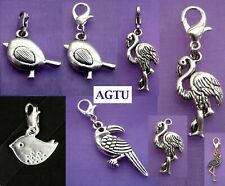 Pick Your Charm ~ Clip On Silver Bird Tweetie Flamingo Parrot Charm Agtu