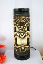 "2 PCS OF ART LAMP MANGO WOOD CARVING 4""x12"" TIKI HAWAIIAN POLYNESIAN GOD LIGHT"