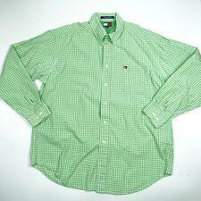 Tommy Hilfiger Men's Checks Green Long Sleeve Button-Up Shirt L Large