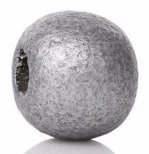 500 Stück Runde Holzperlen, Silber, 9x10mm, Loch 3,5mm Schmuck Basteln Perlen