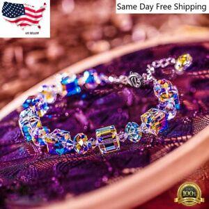 Aurora Borealis Bracelet Made with Round Crystals