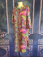 Vintage Vibrant Pucci-Like Dress Kaftan or Coat SMALL / MEDIUM Paisley Loll-Ease