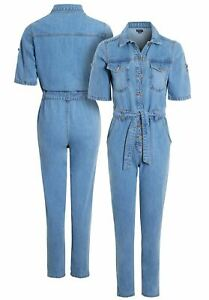 Womens Jumpsuit Denim Boiler Suit Blue Size 8 10 12 14 16 All in One Catsuit