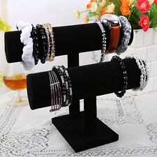 Black 2 Tier T-Bar Velvet Bangle Bracelet Watch Holder Jewelry Display Stand New