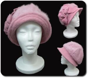 Cappello da Donna Inverno di Lana Berretto Cloche Paris Kaninchenwolle Rosa