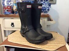 Women's Hunter Original Biker Boots Short Black US Women Size 8 Made in UK