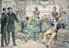 UN SALON de JEUX au début de 3ème RÉPUBLIQUE - Gravure en couleur du 19e siècle