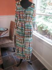 LONG FLOWY BUTTON UP WATERCOLOR WATER COLOR SWIM COVER UP COVERUP BRAND NEW