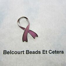 10 Pewter and Enamel Pink Ribbon Breast Cancer Beads Charm Pendant Large