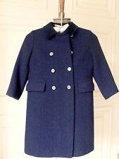 SuperbVtg HARRIS TWEED Boys/Girls Size6 Navy TweedWool Coat/Wool Plaid Lining UK