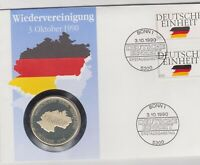 Numisbrief Wiedervereinigung 3. Okt. 1990 100 Pfg Briefmarke Stempel Bonn Silber