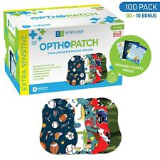 Infants Extra Sensitive Adhesive Eye Patch Boys 100 Pack Series I OPTHOPATCH