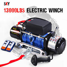 12V Wireless Synthetic Rope 13000LBS Electric Winch ATV 4WD BOAT Truck 12000LBS