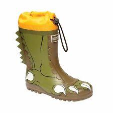 Regatta Kids Mudplay Character Wellington Boots Wellies -Green Dark Khaki Orange