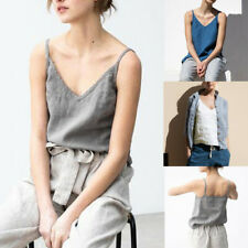 Women Summer V-Neck Strappy Casual Cotton Linen Loose Tops Vest Blouse Tank Tops