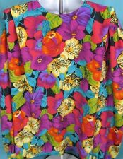 Jos A Bank Top Large Flowers Long Sleeve Polyester Made in the USA