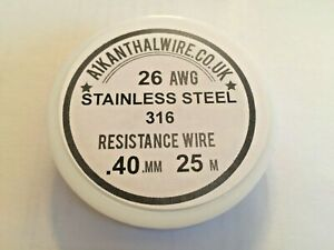 Stainless steel SS 316L 26awg  40mm Resistance Coil Wire RBA RDA  25m Spool