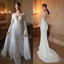 B1899 Custom Ivory Long Sleeve Backless Removable Wedding Dress All Size O