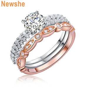 Newshe Wedding Engagement Ring Set 925 Sterling Silver Rose Gold Round Cz Size 5