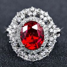 Women Charming Hollow Out Oval Ruby Birthstone White Gold Filled Cocktail Ring