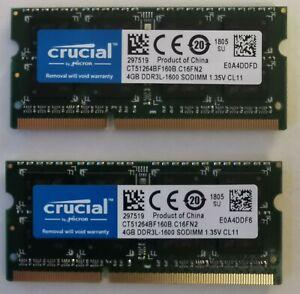 Kit 8Go RAM SODIMM PC3-12800 DDR3L-1600 2x4Go Crucial CT51264BF160B