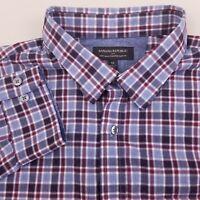 Banana Republic Men's Button Up Soft Wash Shirt Size XL Slim Fit Plaid Blue Red