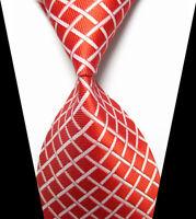New Classic Red&White Plaids Tie WOVEN JACQUARD Silk Men's Suits Ties Necktie