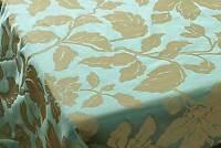 Green-Blue & Taupe Fabric 100% Silk Damask Drapery Fabric Floral Motif