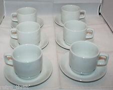 Figgjo Norway Set of 6 Vitro-Porselen Med Korund White Coffee Tea Cups Saucers