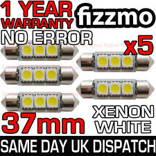 5x 37mm 239 272 SV8.5 6000k BRIGHT WHITE 3 SMD LED FESTOON LIGHT BULB ERROR FREE