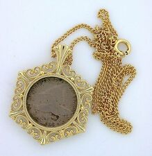 ONE 1858 FLYING EAGLE PENNY CENT GOLDPLATED COIN PENDANT AND CHAIN ebs3976
