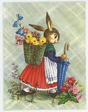 VINTAGE EASTER BUNNY BABY CHICKS SPRING FLOWERS UMBRELLA GREETING CARD ART PRINT