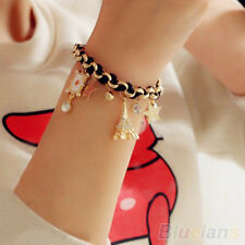 Girls Crystal Charms Pendants Gold Link Chain Leather Rope Cute Bracelet BHCU