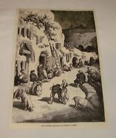 1887 magazine engraving ~ CAVE HOUSES OF GYPSIES IN SPAIN