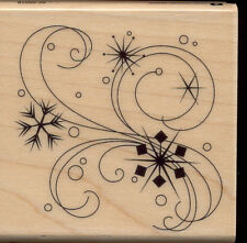 INKADINKADO SNOWFLAKE FLOURISH SWIRLS RUBBER MOUNTED WOOD BLOCK STAMP 60-00018