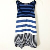Women's Vince Tank Sleeveless Cotton Medium Stripe Blue Black White Tunic Crew