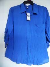 DALIA Blue Collared High Low Boho  top Shirt Tunic Size XL NWT