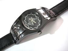 Black Metal Case Leather Band Baby Phat Ladies Watch Item 5544