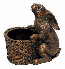 "Resin Bronze Colored Rabbit Figure with Basket Pot Home Garden Decor 8"" NEW T714"