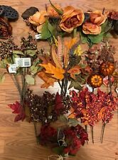 Lot Of Crafts Fall Floral Bushes and picks - Lot of 20 pieces