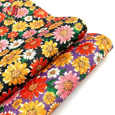 Daisy Floral Printed Fine Glitter Leatherette Fabric Sparkle DIY Craft Bows