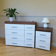 White & Walnut 4+4 Drawer Chest & 3 Draw Bedside Cabinet Bedroom Furniture NEW