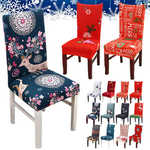 Elastic Stretch Xmas Deco Slipcovers Removable Protector Dining Chair Seat Cover