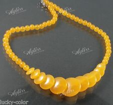 Fashion Yellow Jade Topaz Bead Necklace Coin Gemstone For Party Jewelwey Diy