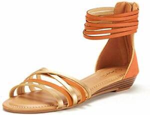 DREAM PAIRS Women's Strappy Crisscross Gladiator Low Flat Heel Summer Sandals