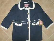 NEW Juicy Couture Navy Blue Coat Size XL White Trim Button Front NWT